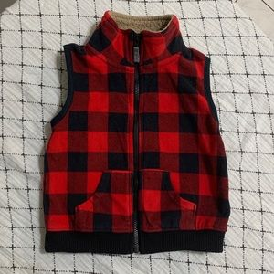 CARTERS | Buffalo Plaid Zip Fleece Vest 18M
